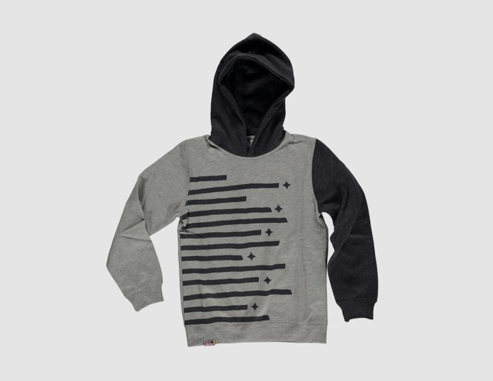 Kids stripe hoody black flat